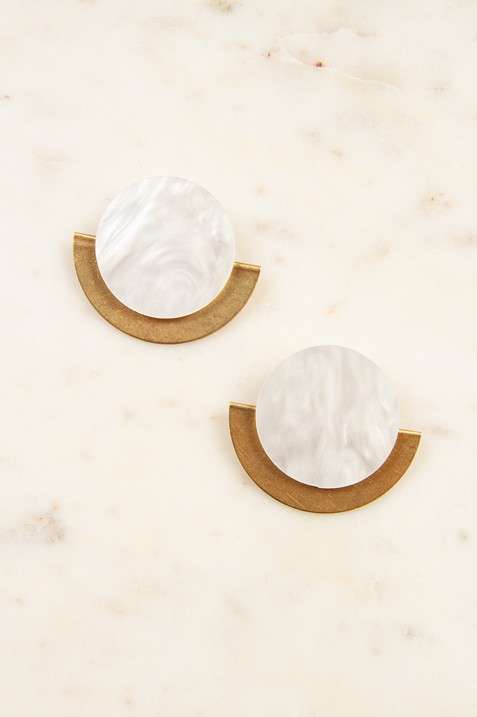 Lucite and Brass Half Moon Clip-On Earrings