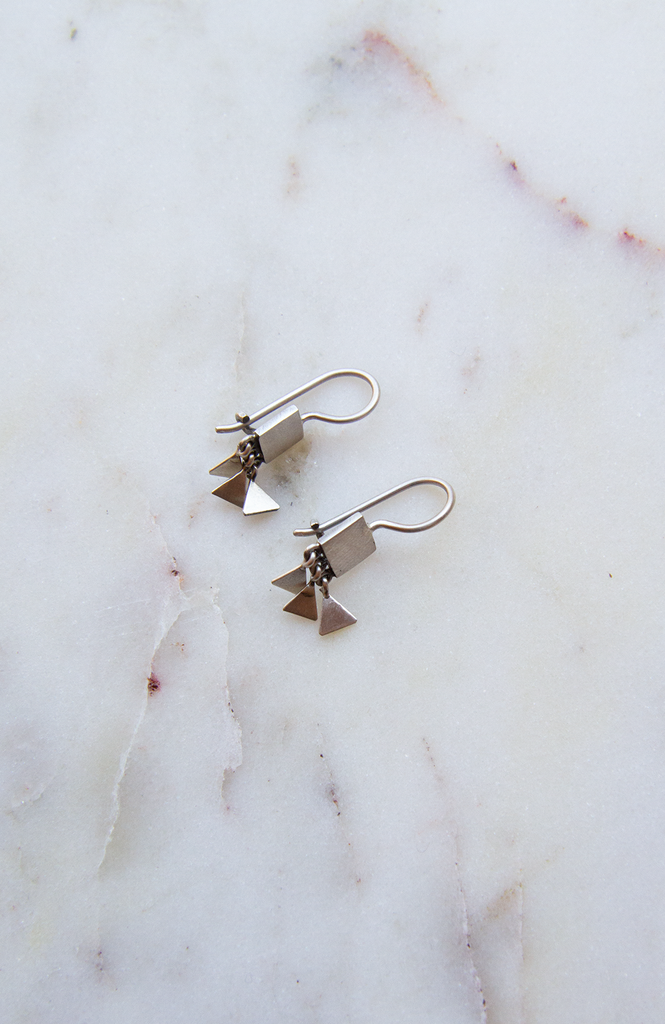 Tiny Square and Triangle Earrings