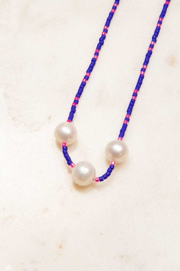 Glass Bead and 3 Freshwater Pearl Necklace