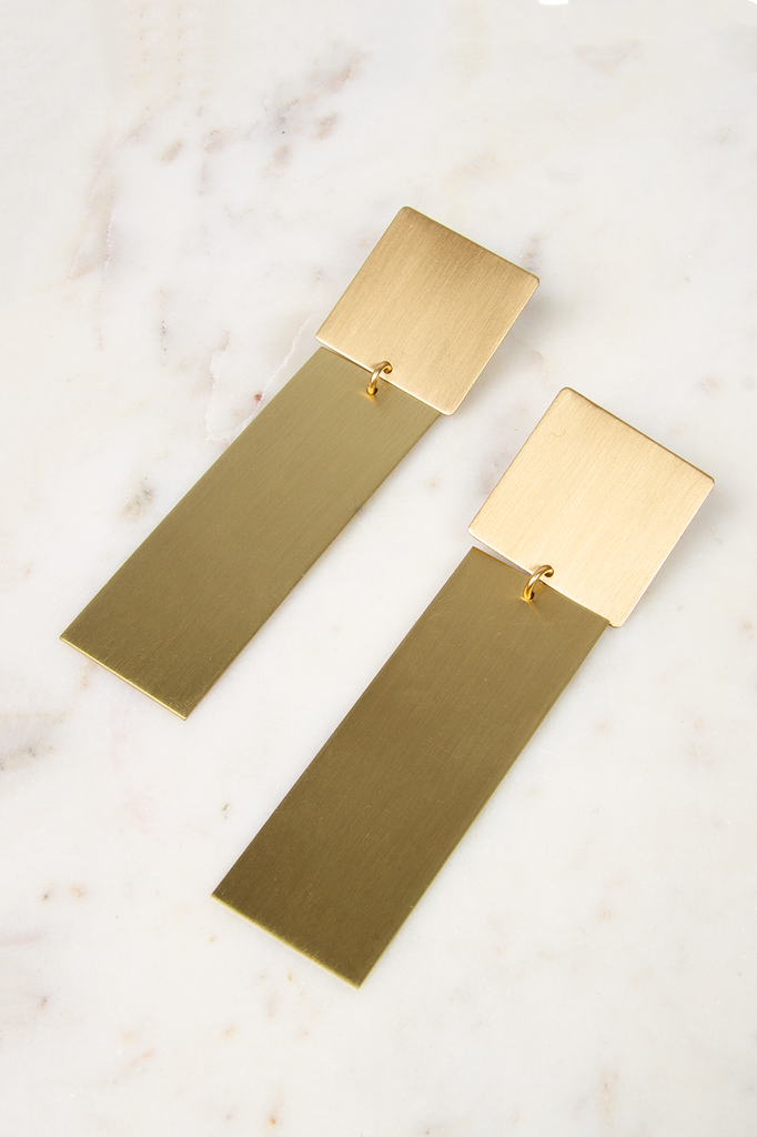 Post Square and Rectangle Satin Brass Earrings
