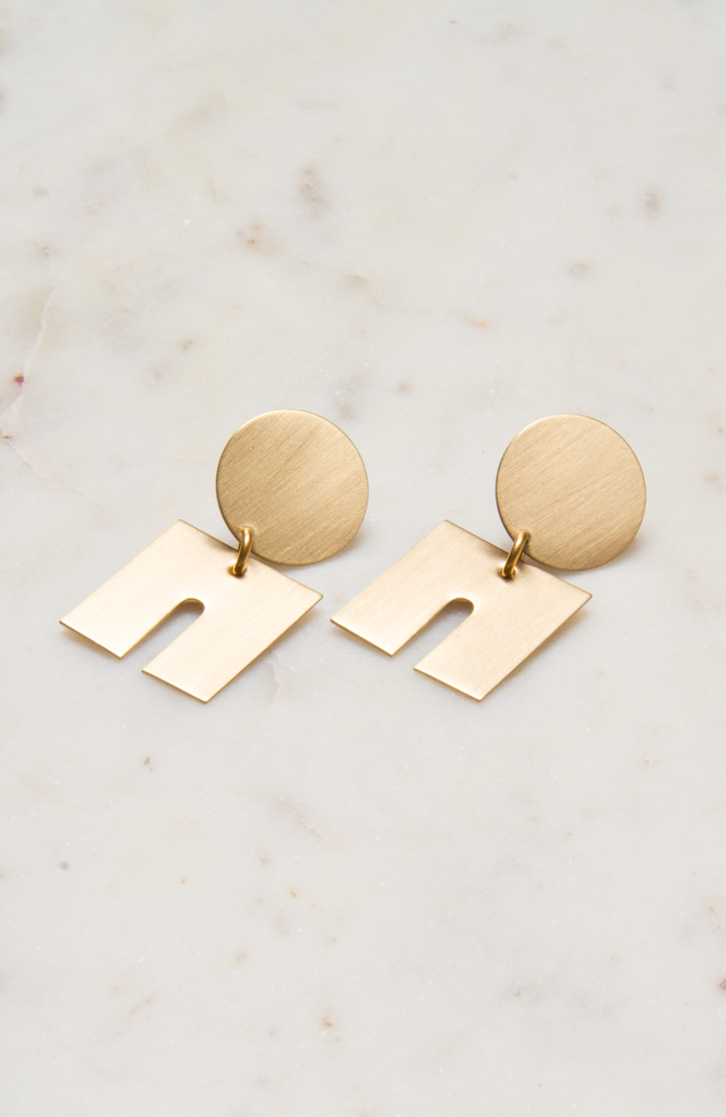 Satin Brass Puzzle Piece Earrings