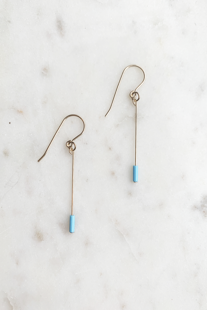 Sky Blue Line Drop Earrings