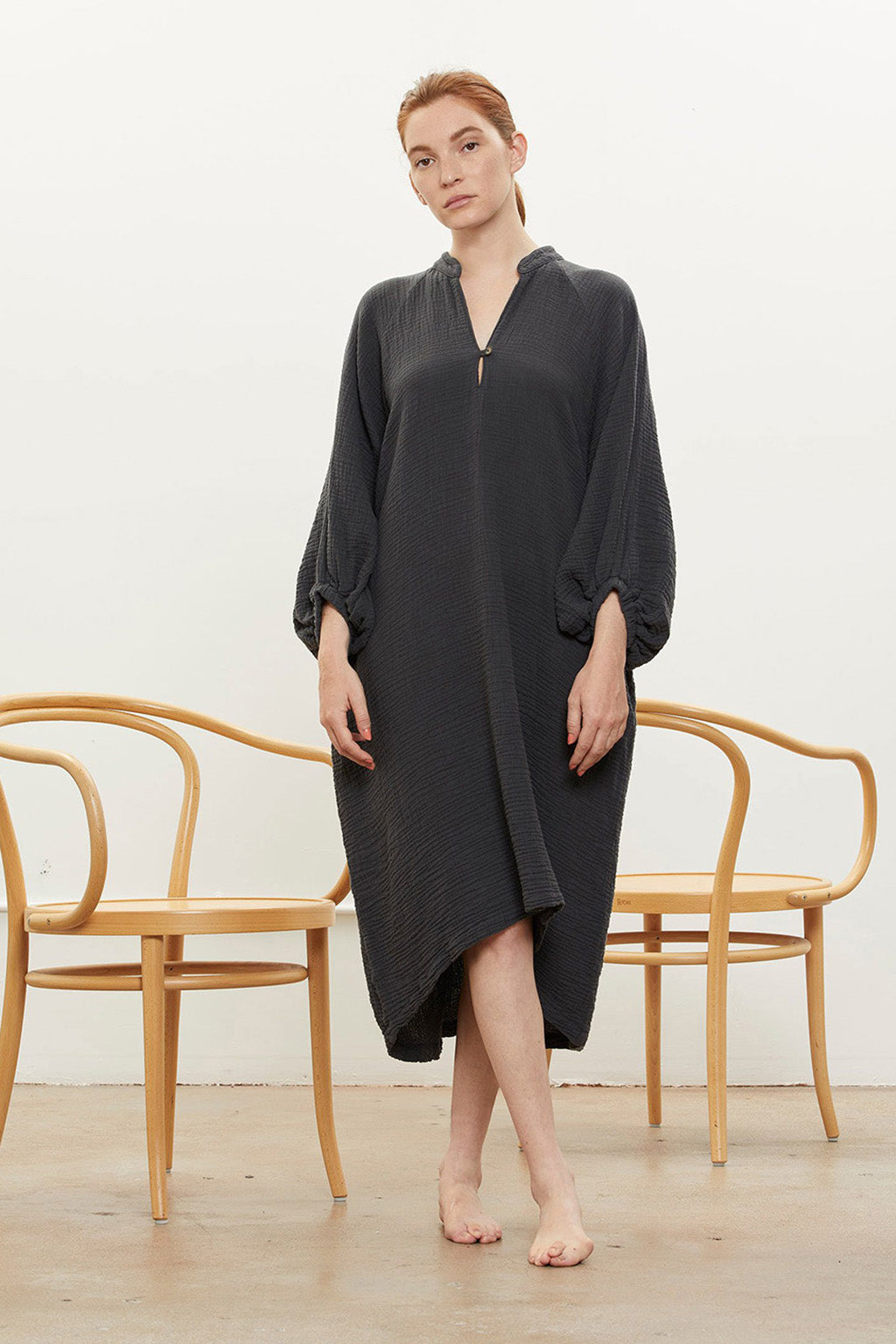 Gauze Dress in Cotton, Black