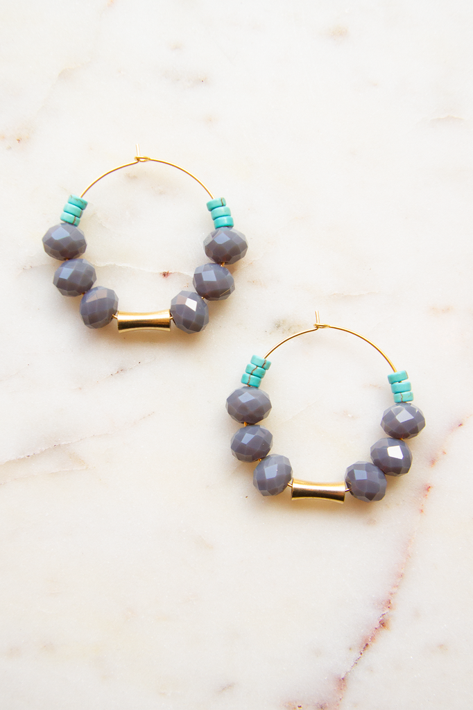 Grey Magnesite & Glass Hoop Earrings