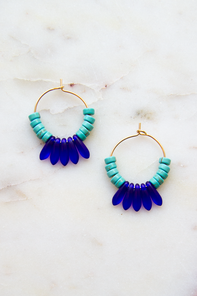 Magnesite & Glass Hoop Earrings