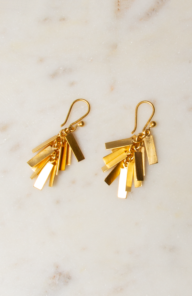Rectangle Cluster Drop Earrings