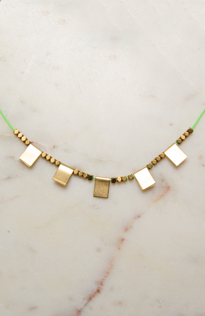 Short Necklace with Brass Squares