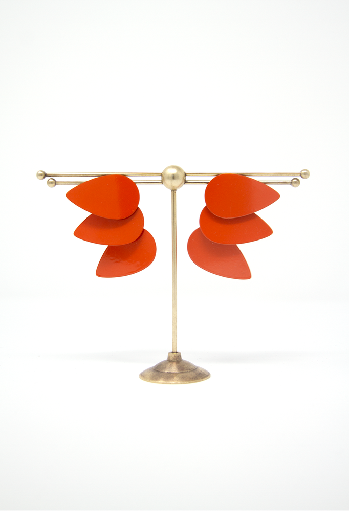 Large Three Drops Earring, Papaya Orange