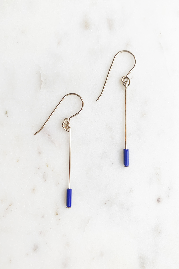 Navy Line Drop Earrings