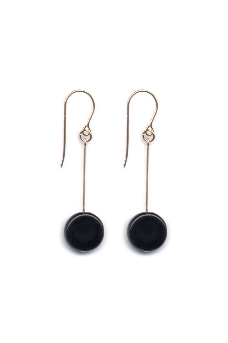 Circle Drop Earrings, Black