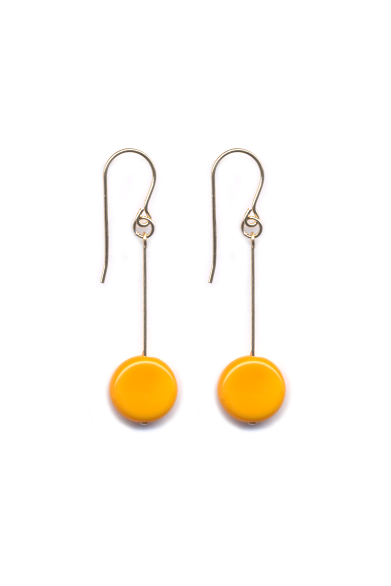 Circle Drop Earrings, Yellow