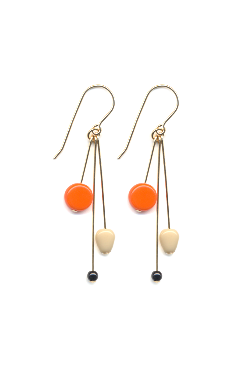 Orange and Cream Cluster Earrings