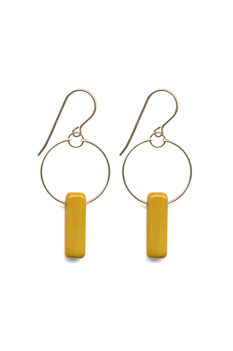 Mustard Bar Hoop Earrings