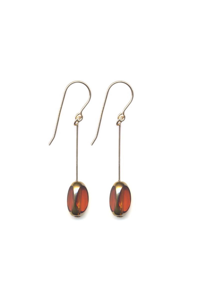 Orange Jewel Bean Drop Earrings