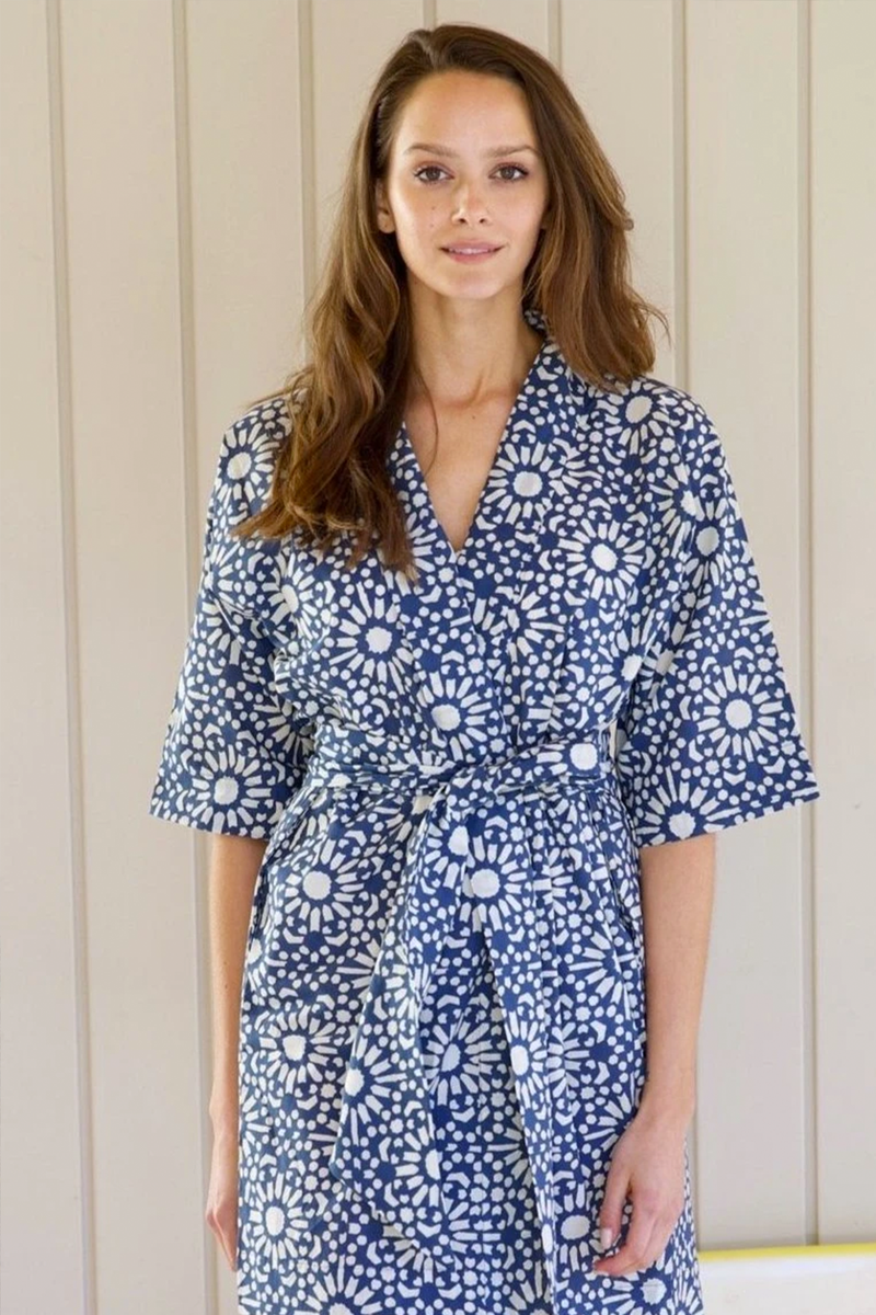 Laos Robe, Blue Floral