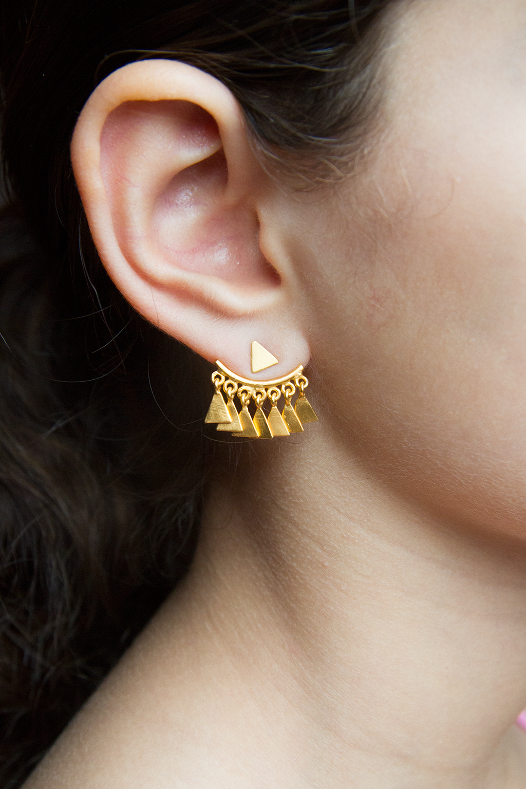 Triangle Dangle Hugger Studs, Gold