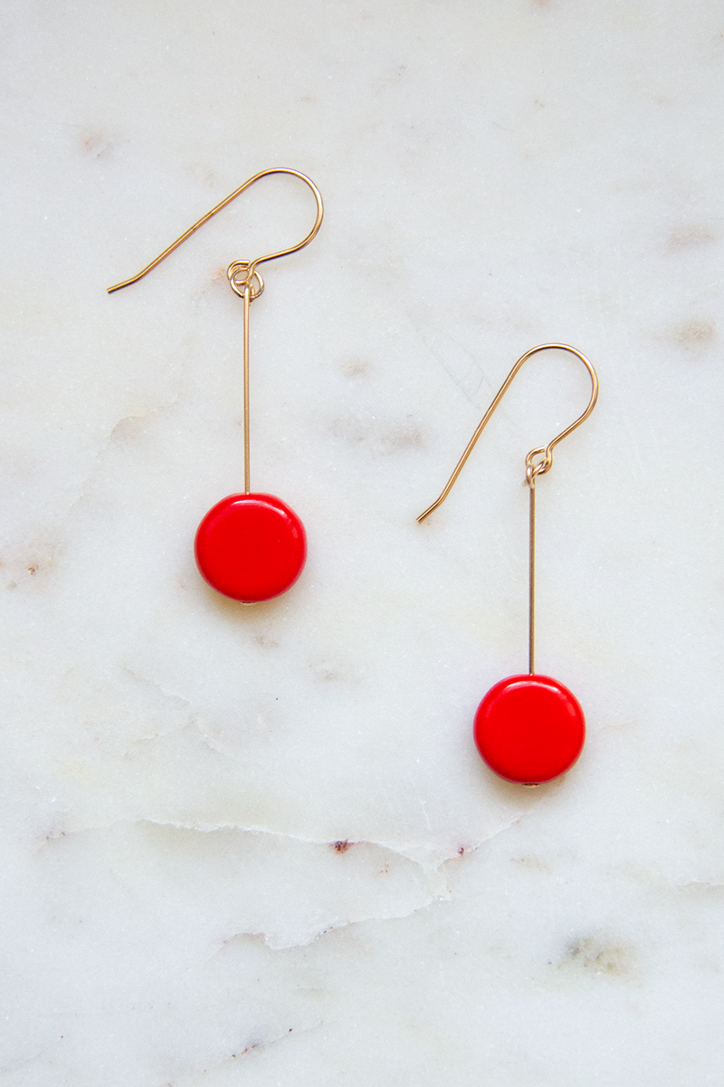 Red Glass Bead Circle Drop Earrings