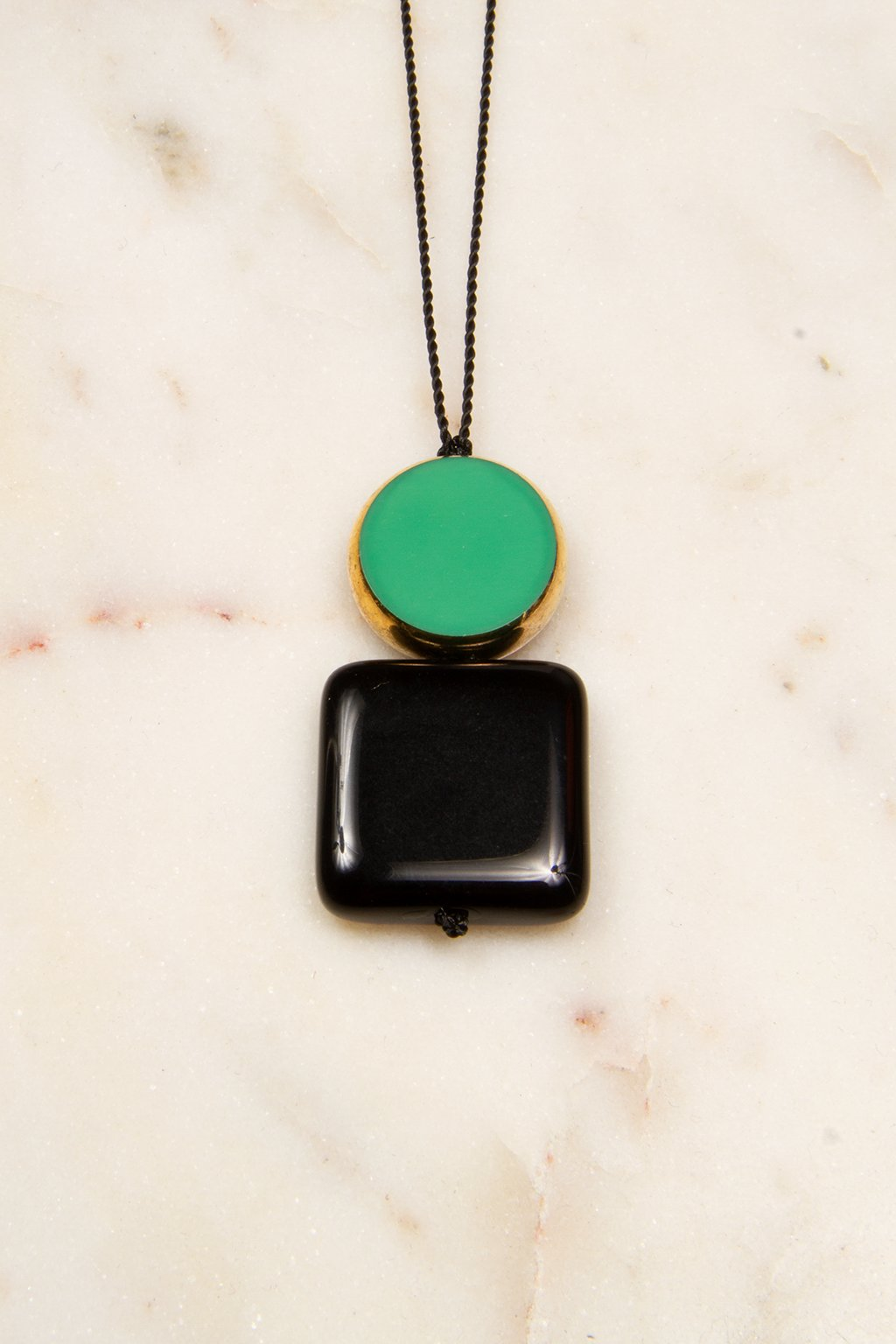 Stacked Green Circle and Black Square Necklace