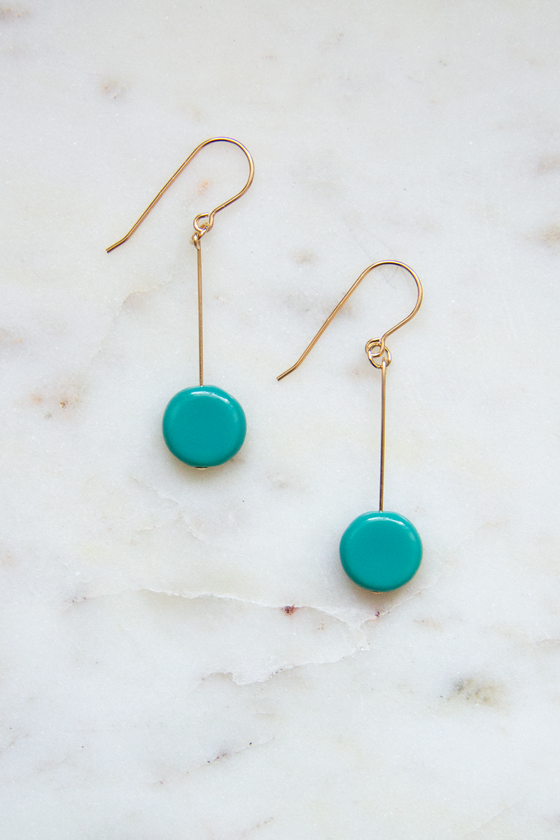 Turquoise Glass Bead Circle Drop Earrings