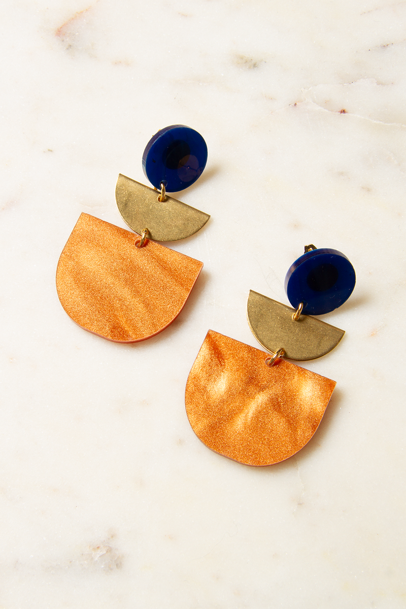Lucite and Brass Half Moon Earrings