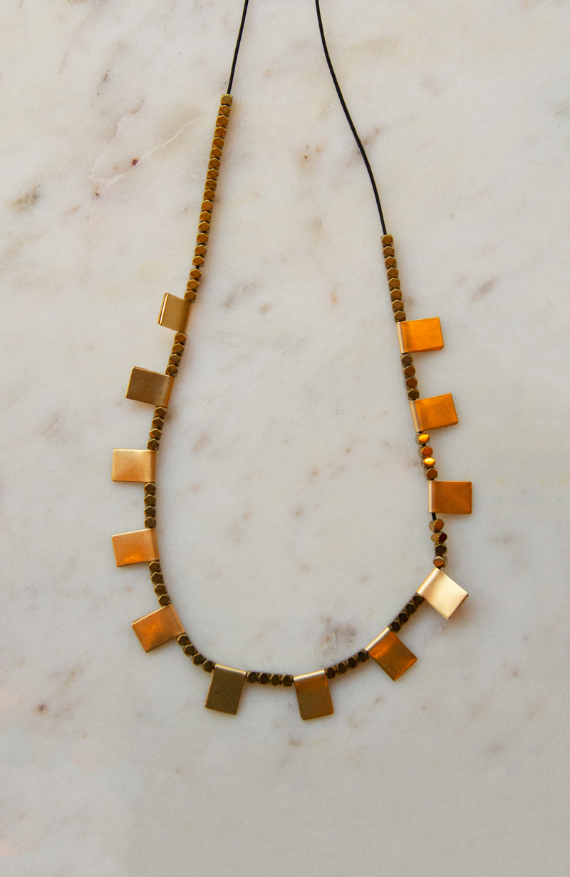 Hematite Beads and Brass Square Tab Necklace