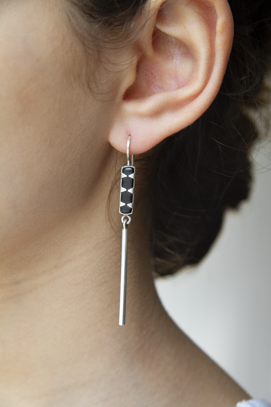 Skinny Stone Earrings, Black Onyx