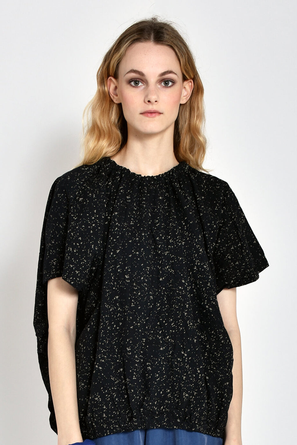 Printed Nina Blouse in Black Speckle