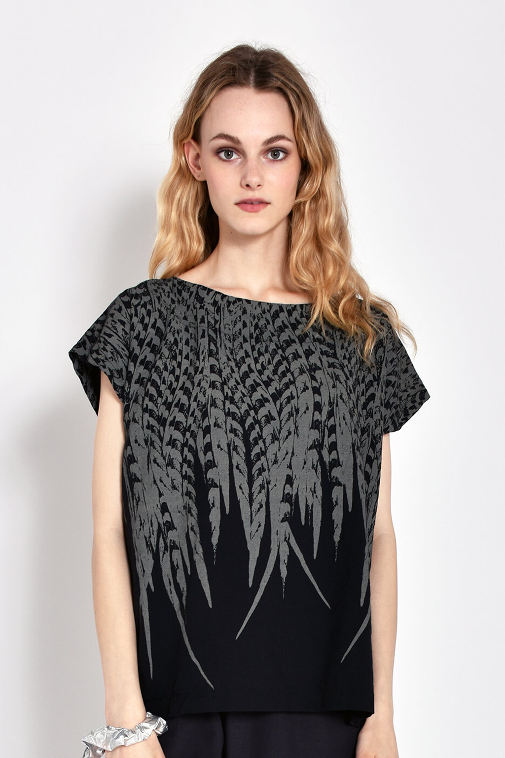 Printed Tunic in Black Feather