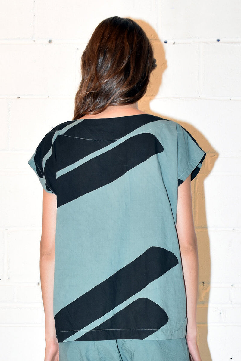 Printed Tunic in Teal Swipe