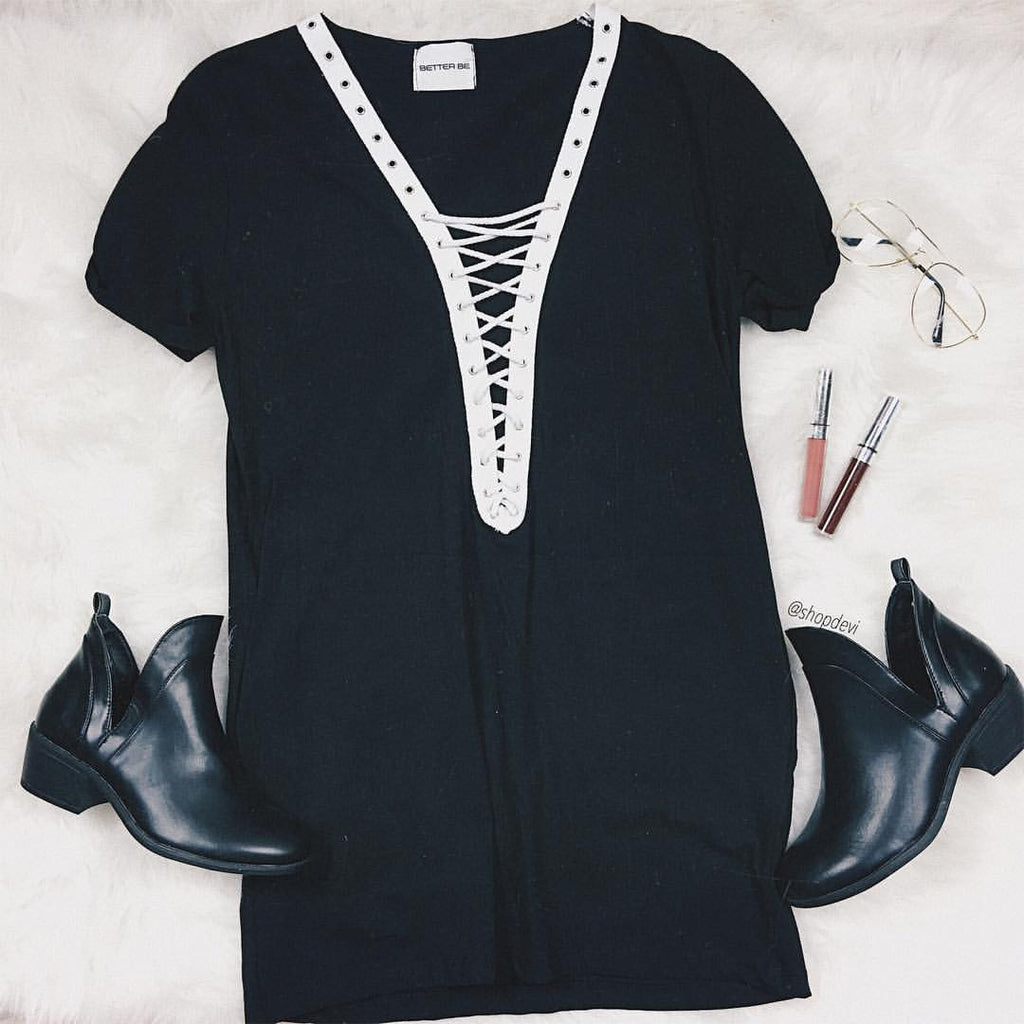 Paulina Lace Up Tunic (Black)