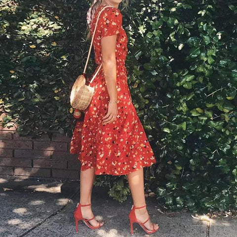 2018 Sexy v neck wrap chiffon dresses Summer retro Cherry flower print beach dress Casual puff sleeve midi boho dress vestidos