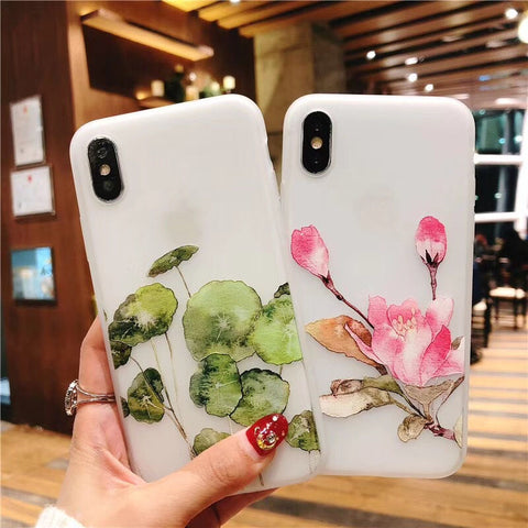3D Retro orchid Relief Lotus Flower Phone Case For iPhone X 6 6S Plus 7 7Plus 8 8Plus Lotus leaf Printing Soft TPU Back Cover
