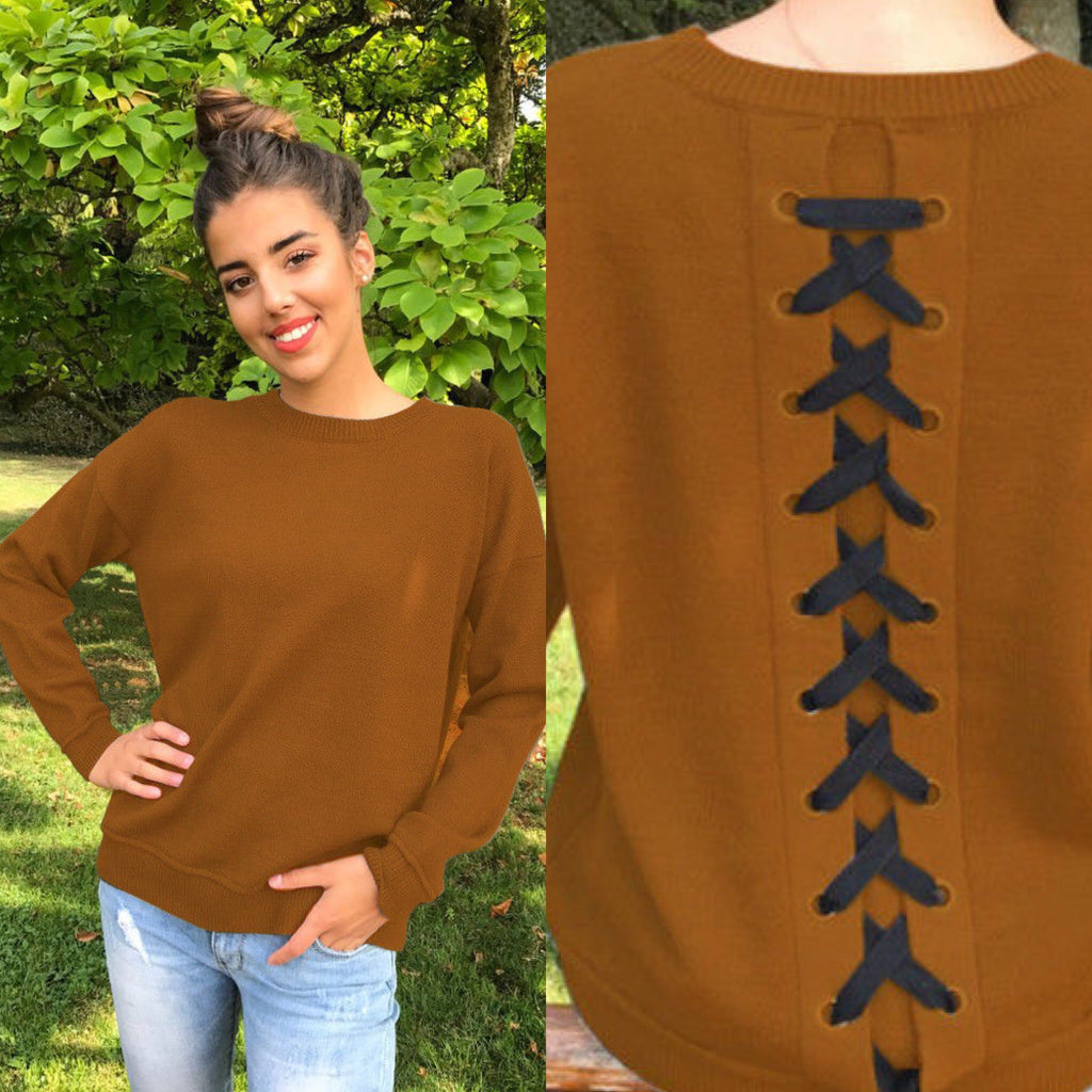 Lace Up Back Sweater (Brown)
