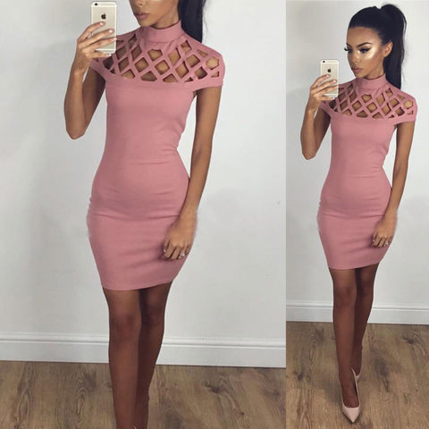 6e9980fde Summer Women Sleeveless Bandage Bodycon Evening Party Cocktail Mini Dress  (Pink)