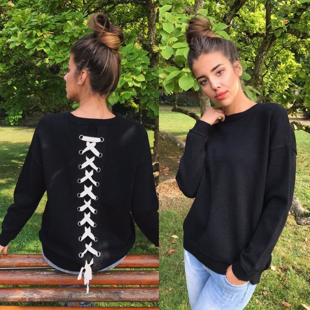 Lace Up Back Sweater (Black)