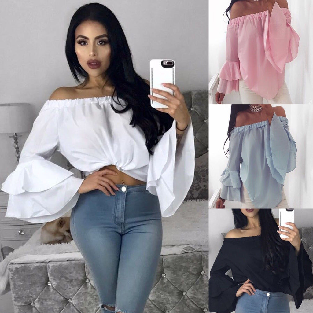Rose Bell Sleeve Blouse (Black, Pink, Blue, White)