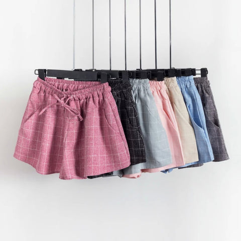 7 Colors Plaid Shorts 2016 Summer Style New Fashion Casual Loose Elastic Waist All-Match Women Cotton Linen Shorts 4348