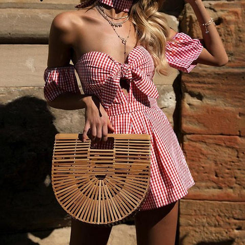 Off shoulder plaid jumpsuit romper women Sexy backless bow high waist playsuit female Summer beach 2018 short overalls
