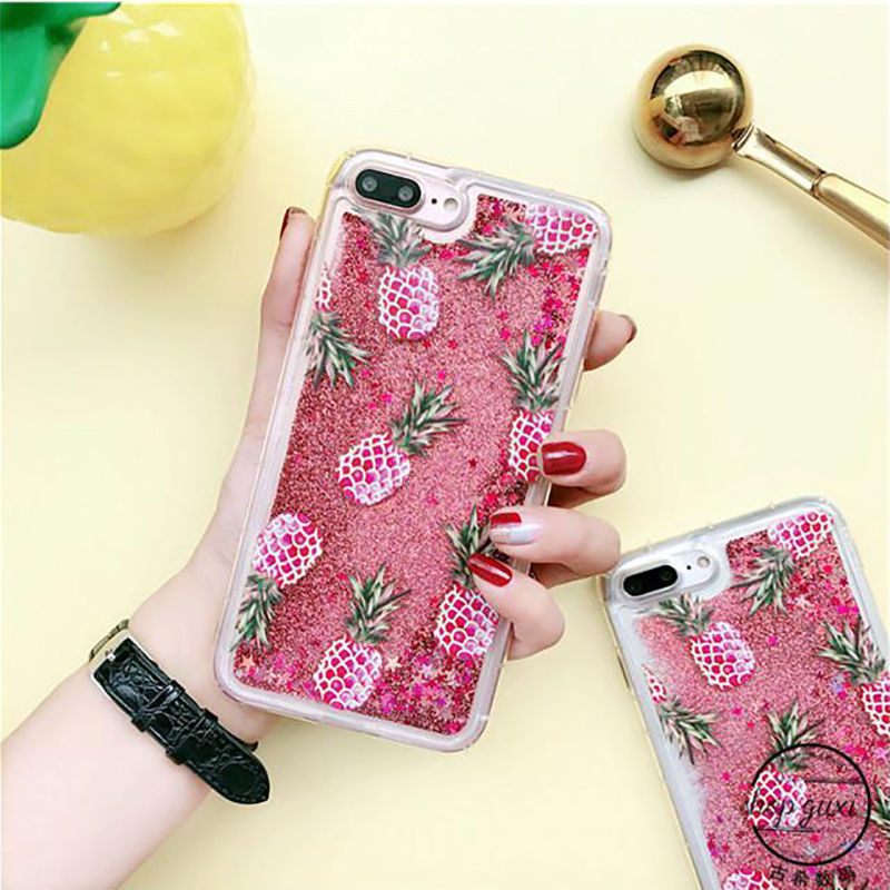Bling Luxury Glitter Powder Fashion Liquid Quicksand pink Pineapple Phone Case For iPhone 6 6S Plus 7 7Plus Soft TPU Back Cover