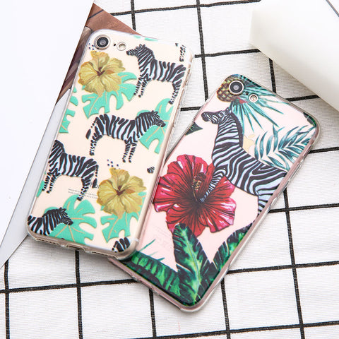 Cartoon Animals Cute Zebra Colorful Plant Soft TPU Phone Case For iphone 5 5S 7 7Plus 6 6 SPlus Floral Silicone Back Cover Shell