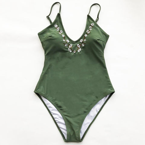 Dreams Link Embroidery One-piece Swimsuit