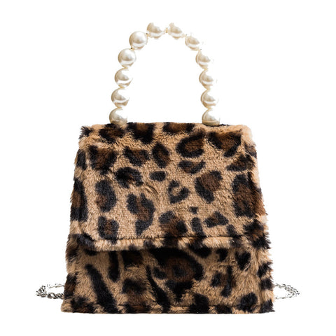 Monica Pearl Handle Fuzzy Bag
