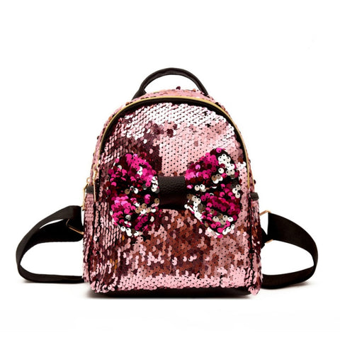 Bow Reverse Sequn Mini Backpack