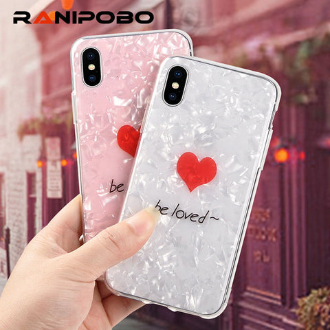 Fashion Cute Love Heart Shell Pattern Phone Case
