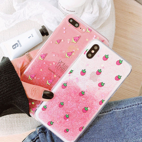 Fashion Glitter powder Gradient Strawberry Phone Case For iPhone 6 6S 7 8 Plus X Lovely Pink Fruit Soft TPU Back Cover Coque