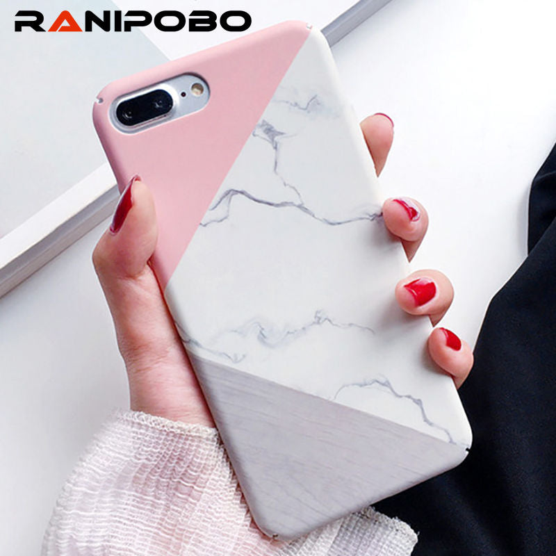 Fashion Marble Texture Geometric Splice Pattern PC Phone Case