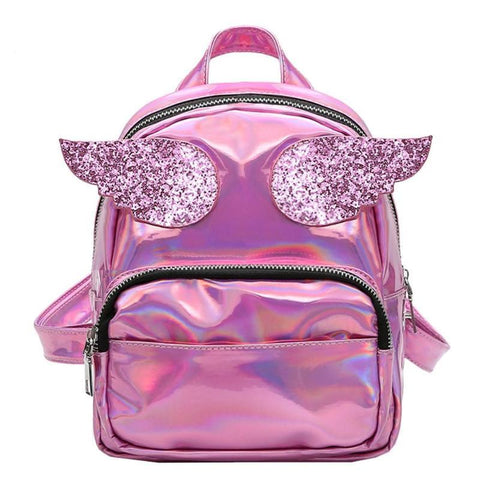 Fashion Women Hologram Laser Backpack Super Wings School Bags Small Girls Cute PU Leather Backpack Angel Ladies 19 X 18 X 11cm