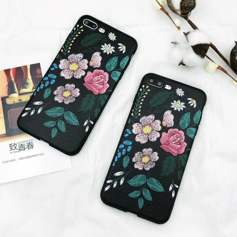Luxury Vintage Rose Flower Phone Case For iPhone X 7 7Plus 6 6S Plus 8 8Plus Relief Painted Soft TPU protection Back Cover
