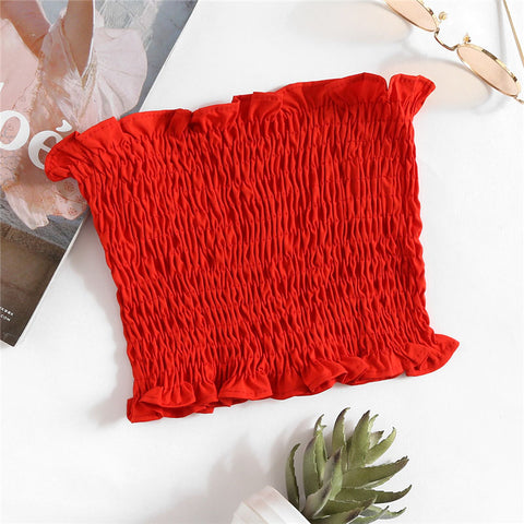 Shirring Stretchy Bandeau Top 2018 New Strapless Frill Vacation Crop Woman Top Summer Red Plain Slim Fit Vest