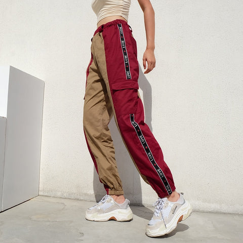 Cotton Punk Rock Cargo Pants Spliced Panelled Womens Joggers Sweatpants Streetwear High Waist Harajuku Pants Women